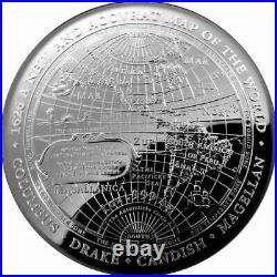 2019 $5 Silver Proof Domed Coin 1626 A New Map of the World Columbus, Dra