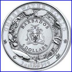 2019 DOLPHIN UNDERWATER WORLD Antique Finish 3 Oz. 999 Silver Coin $5 Barbados