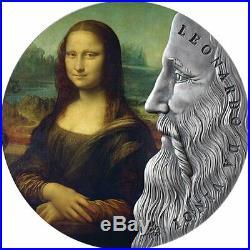 2019 Ghana 2 oz Leonardo da Vinci World's Greatest Artists. 999 Silver Coin