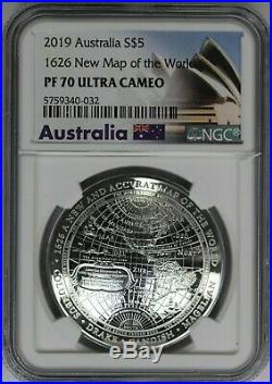 2019 NGC Australia $5 1626 New Map of the World PF70 UC 3D Domed Silver Coin
