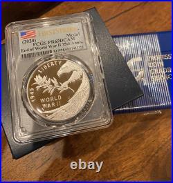 2020 End of World War II 75th Anniversary Silver Eagle Medal PCGS PR69 FS