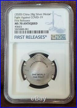 2020 NGC MS 70 Antiqued #601 CHINA 28g Silver ONE WORLD-ONE FIGHT 1st Release