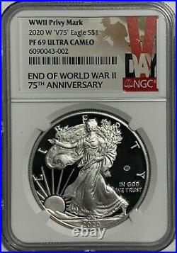 2020 W $1 NGC PF69 ULTRA CAMEO V75 PRIVY SILVER EAGLE WORLD WAR II 75th ANN. 999