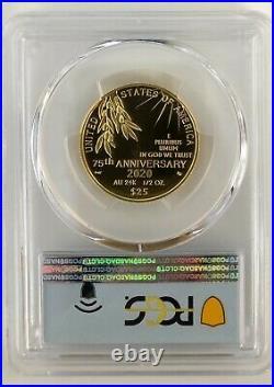 2020-W End Of World War II 75th Anniversary PR70DCAM FDOI PCGS 20XG 1/2 OZ Gold