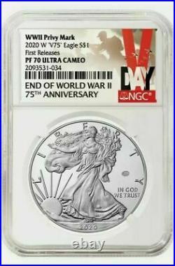 2020 W End Of World War II American Silver Eagle V75 Ngc Pf70 75th Anniversary