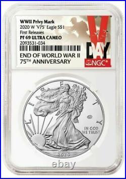 2020 W End of World War II 75th American Silver Eagle V75 NGC PF69 PRESALE