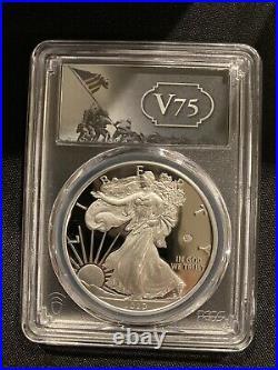 2020-W End of World War II 75th Anniversary Silver Eagle v75 Privy PCGS PR69DCAM