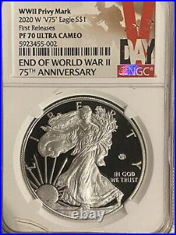 2020 W End of World War II V75 Privy Proof Silver Eagle PF 70 NGC First Release