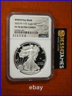2020 W Proof Silver Eagle World War II V75 Privy Ngc Pf70 Ultra Cameo Black Labl