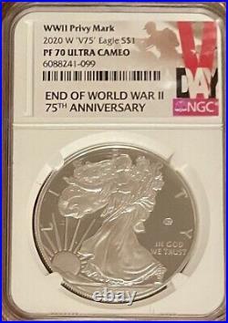 2020 W V75 NGC PF70 World War 11 (2) End 75th Anniversary 1oz Silver Eagle Privy