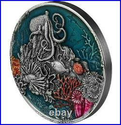 2021 2 Oz Silver $5 Niue World Beneath The Waves CORAL REEF Antique Finish Coin