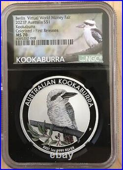 2021 Australia 1oz Silver Kookaburra World Money Fair WMF Berlin NGC MS70 FR COA