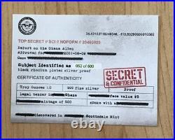 2021 Ghana ALIEN 1oz Silver Proof BLACK RHODIUM 500 Minted UV Secret SHIP GLOBAL