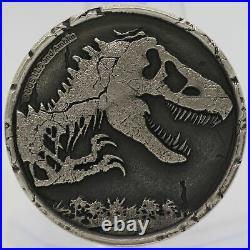 2021 Jurassic Park World 2 oz 999 Silver Antiqued Dinosaur Coin Niue JJ581