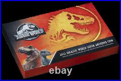 2021 Jurassic World 2oz Silver Antiqued Blue the Velociraptor Shaped Coin
