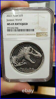 2021 Jurassic World Park NGC MS69 2 oz Silver Antiqued Cracked Planchet withOGP