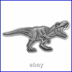 2021 Niue 2 oz Silver $5 Jurassic World T-Rex Shaped Antique Coin SKU#231429
