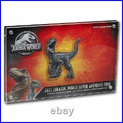2021 Niue 2 oz Silver $5 Jurassic World Velociraptor Shaped Coin SKU#235491