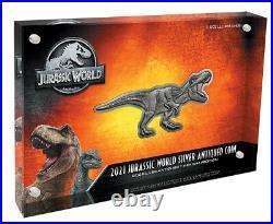 2021 Niue Jurassic World T-Rex Shaped 2 oz Silver Antiqued $5 Coin GEM BU