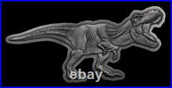 2021 Niue Jurassic World T-Rex Shaped 2oz Silver Antiqued $5 Coin SEALED
