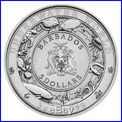 3 oz 2018 Barbados Underwater World Sea Turtle Silver Coin