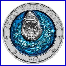 3 oz 2018 Barbados Underwater World The Great White Shark Silver Coin