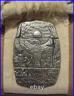 3 oz Old World Egyptian Falcon God Horus USA 3oz Fine Silver 999 BU Relic Bar