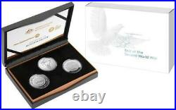 340045 2020 75th Anniversary Of The Second World War Three Coin Silver Proof Set