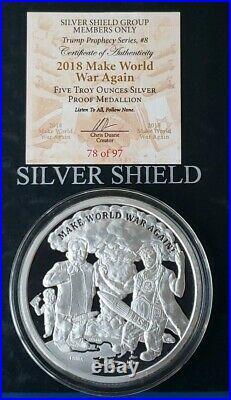 5 Oz. 999 Pure Silver Shield Proof Make World War Again Round Coin Trump Members