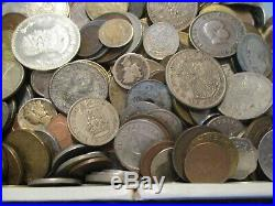 5+ Pound Lot of World Coins in A Vintage Cigar Box with Silver Coins