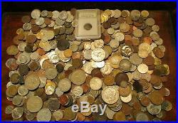 6+ Pound Lot of World Coins in A Vintage Cigar Box with Silver and Ancient Coin