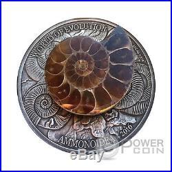 AMMONITE World of Evolution 1 Oz Silver Coin 1000 Francs Burkina Faso 2016