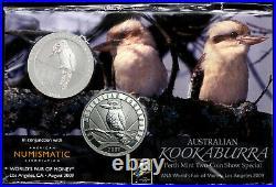ANA Worlds Fair of Money 2009 Perth Mint 2 Kookaburra 2008/2009 2oz Fine Silver