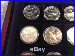 Aircraft Of World War II 1 Crown Set Of 12 Silver Proof Coins Complete Case 1995