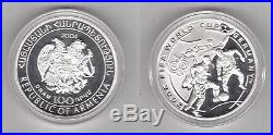 Armenia -silver Proof 100 Dram Coin 2004 Year Fifa World Cup Germany 2006 Km#111