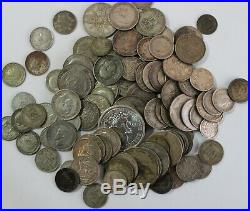 Assorted Silver World Coin Lot. 500 Fine 15 Troy Oz Silver Circulated Coins