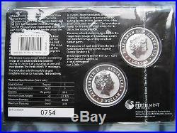 Australia 2x 1$ 2011 KOOKABURRA & KOALA Silver Coins on Card World Money Fair