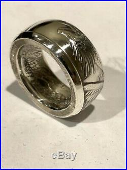 Aztec World Of Dragons Mens. 999 Pure Silver Coin Ring Size 7-16 Anniversary