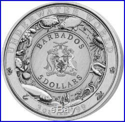BARBADOS 2018 3 Oz Silver $5 SEA TURTLE UNDERWATER WORLD Coin