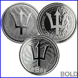 BOLD Set Barbados Trident Silver BU 3 Coins (2017-2019)