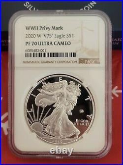 BROWN NGC PF70 2020 W End World War II 2 75th American Silver Eagle V75 70