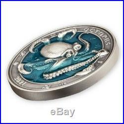 Barbados 2021 5$ Octopus Underwater World 3oz Silver Coin