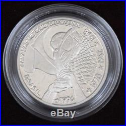 Brazil 1994 4 time world cup champ Silver coin 4 Reais Unc with Box and Coa