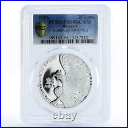 Bulgaria 25 leva Football World Cup in Mexico PR69 PCGS proof silver coin 1986