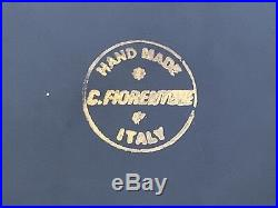C. Fiorentine Navy Porcelain Ashtray with 6 Silver World Coins Hand-Made in Italy