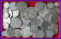 COLLECTION LOT WORLD ONLY SILVER COINS 87PC 483GR #xx22 099