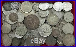 COLLECTION LOT WORLD SILVER ONLY SILVER COINS 106PC 644GR #xx15 035