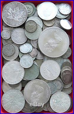 COLLECTION SILVER WORLD COINS, LOT ONLY SILVER, 119PC 663G #xx4 010