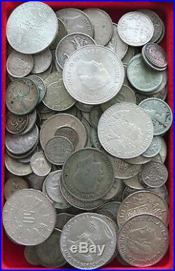 COLLECTION SILVER WORLD COINS, LOT ONLY SILVER, 130PC 762G #xx4 014