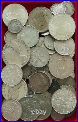 COLLECTION SILVER WORLD COINS, LOT ONLY SILVER, 55PC 634G #xx4 027